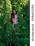 portrait of young beautiful... | Shutterstock . vector #598692590