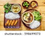 bun cha is a northern... | Shutterstock . vector #598699073