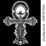 ankh tattoo  ancient egyptian... | Shutterstock .eps vector #598707344