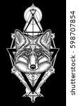 fox tattoo geometric style.... | Shutterstock .eps vector #598707854