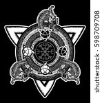 celtic cross tattoo art and t... | Shutterstock .eps vector #598709708