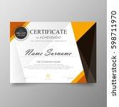 certificate premium template... | Shutterstock .eps vector #598711970