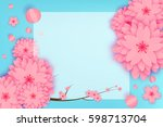 paper cut floral greeting card. ...   Shutterstock .eps vector #598713704