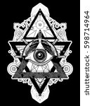 all seeing eye tattoo art... | Shutterstock .eps vector #598714964