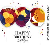 happy birthday greeting card.... | Shutterstock .eps vector #598715234