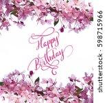 frame of spring flowers on tree ... | Shutterstock . vector #598715966