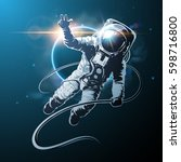 astronaut in space illustration | Shutterstock .eps vector #598716800