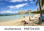 waikiki beach  hawaii  usa   ... | Shutterstock . vector #598726103