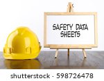 safety helmet and white board... | Shutterstock . vector #598726478