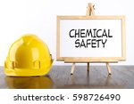 safety helmet and white board... | Shutterstock . vector #598726490