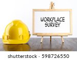 safety helmet and white board... | Shutterstock . vector #598726550