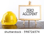 safety helmet and white board... | Shutterstock . vector #598726574
