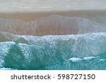 beach on aerial drone top view... | Shutterstock . vector #598727150