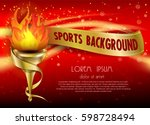 golden torch of flame vector... | Shutterstock .eps vector #598728494