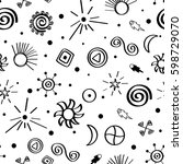 seamless vector pattern with... | Shutterstock .eps vector #598729070