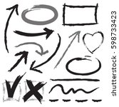 hand drawn arrows and graphics... | Shutterstock .eps vector #598733423