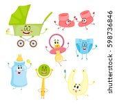 cute and funny kid item  baby... | Shutterstock .eps vector #598736846