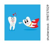 two funny tooth characters  one ... | Shutterstock .eps vector #598737029