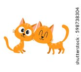 Stock vector two cute and funny red cat kitten characters looking curiously interested cuddling cartoon 598738304