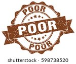 poor. stamp. sticker. seal.... | Shutterstock .eps vector #598738520