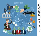 corruption concept. theft of... | Shutterstock .eps vector #598738670