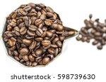 roasted coffee beans in moka... | Shutterstock . vector #598739630
