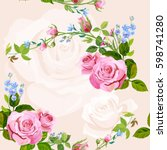vector square floral seamless... | Shutterstock .eps vector #598741280