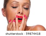beautiful woman with bright red ... | Shutterstock . vector #59874418