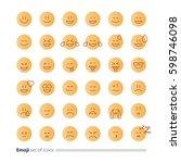 big set of small linear emoji... | Shutterstock .eps vector #598746098