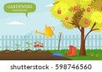 garden colorful designs... | Shutterstock .eps vector #598746560