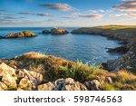 view of carreg onnen bay and... | Shutterstock . vector #598746563
