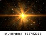 glow light effect. star burst... | Shutterstock . vector #598752398