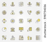 colorful investment icons.... | Shutterstock .eps vector #598754036