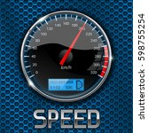 speedometer on blue metal... | Shutterstock .eps vector #598755254