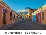 the main street of antigua city ...   Shutterstock . vector #598756340