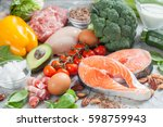 healthy eating food low carb... | Shutterstock . vector #598759943