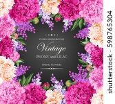 vintage card with lilac and... | Shutterstock .eps vector #598765304