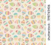 seamless pattern with easter... | Shutterstock .eps vector #598765406