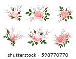 bouquet of pink roses  delicate ... | Shutterstock .eps vector #598770770
