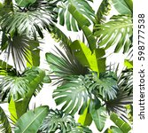 tropical leaves pattern. green... | Shutterstock . vector #598777538