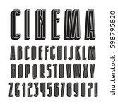 decorative sanserif font with... | Shutterstock .eps vector #598795820