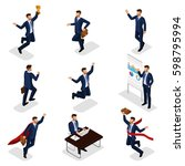 trendy isometric people  3d... | Shutterstock .eps vector #598795994