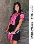 pretty slender brunette in a...   Shutterstock . vector #59879617