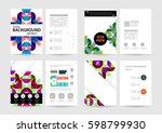 memphis geometric background... | Shutterstock .eps vector #598799930
