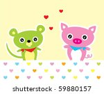 love piggy and mouse | Shutterstock .eps vector #59880157