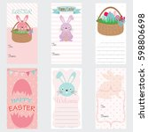 happy easter invitation card... | Shutterstock .eps vector #598806698