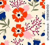 beautiful floral pattern.... | Shutterstock .eps vector #598808450