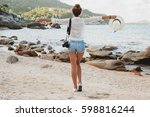 young beautiful hipster woman... | Shutterstock . vector #598816244