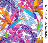 summer exotic floral tropical... | Shutterstock .eps vector #598817228