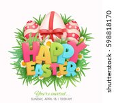 happy easter card title with...   Shutterstock .eps vector #598818170
